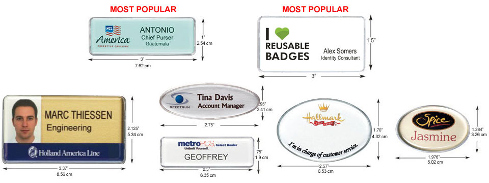 Reusable Name Badges - 8 different shapes and sizes